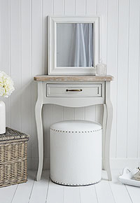 Gentil The Bridgeport Small Grey Dressing Table With A Single Drawer.