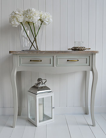 Bridgeport grey console table with drawers