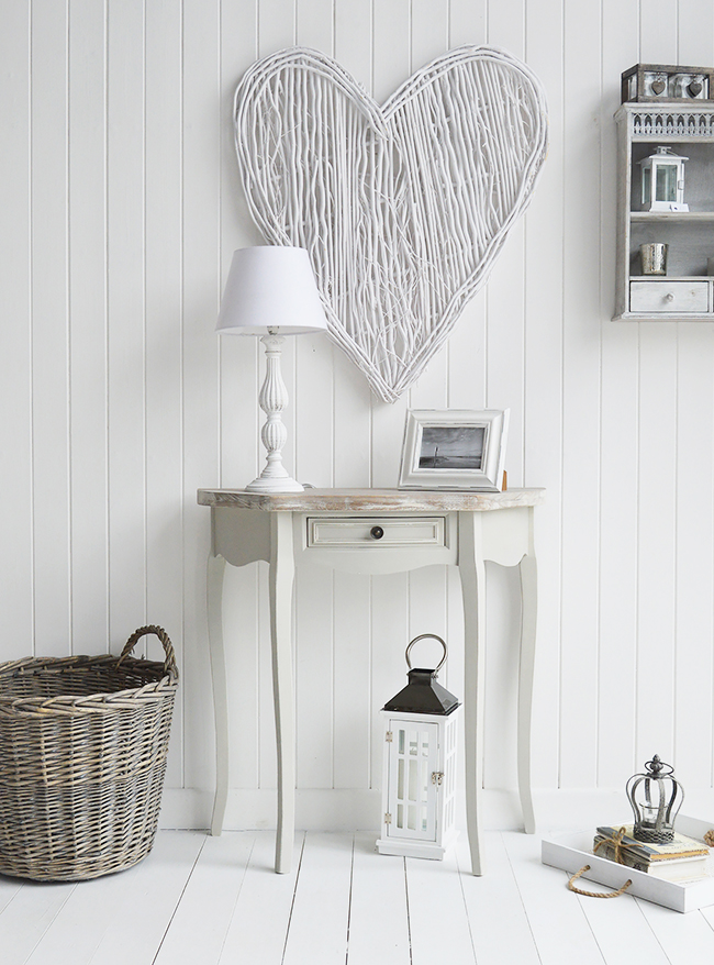 Grey half moon table with drawe for living room and hallway furniture