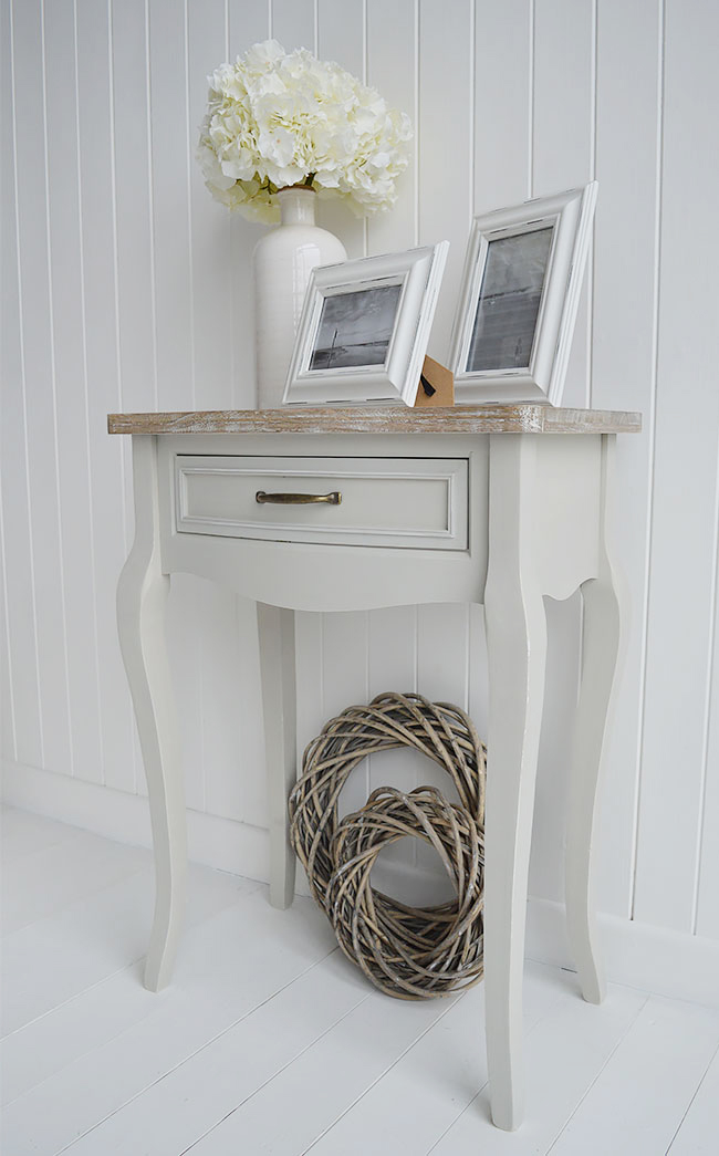 Bridgeport grey living room console table with drawer