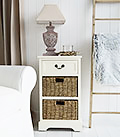 Cambridge Cream lmap table with baskets and drawer for living room furniture