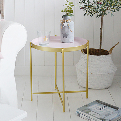 Cambridge pink and gold metal tray table