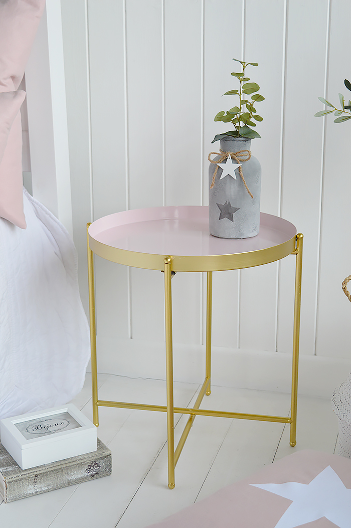 As home to Harvard University and its cafe culture, we have designed our Cambridge table to appeal to the slightly more Bohemain edge of the typical New England style.  A very simple, but striking table in pink and gold that is ideal as a lamp table in the living room or bedside t able in the bedroom