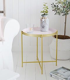 As home to Harvard University and its cafe culture, we have designed our Cambridge table to appeal to the slightly more Bohemain edge of the typical New England style.  A very simple, but striking table in pink and gold that is ideal as a lamp table in the living room