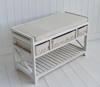 Cape Cod White Shoe Storage Bench For Hall Furniture