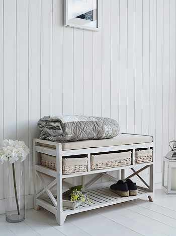 Cape Cod white wash shoe storage bench in hall from The White Lighthouse Hallway Furniture