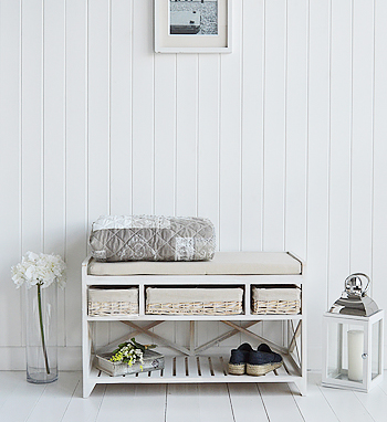 Cape Cod Hallway Storage Shoe Bench seat with cushion