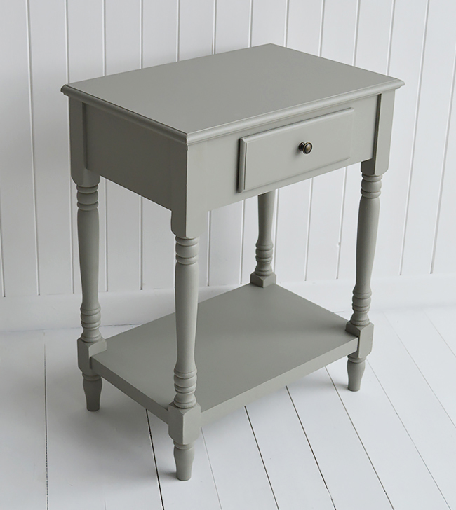 Charleston grey furniture. Table for bedside, lamp and hall for grey and white interior home furniture