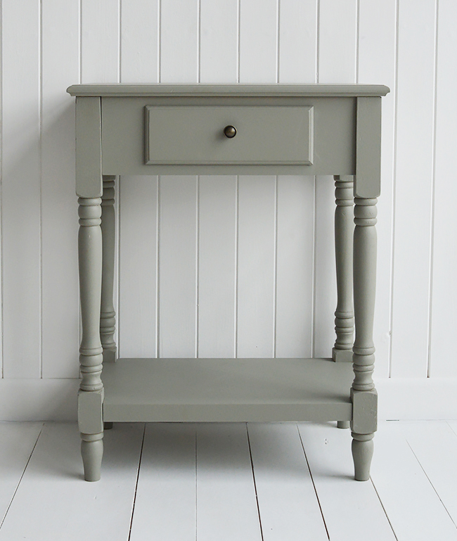 Charleston grey and white table for bedside, console or lamp. Grey and white interior design for homes