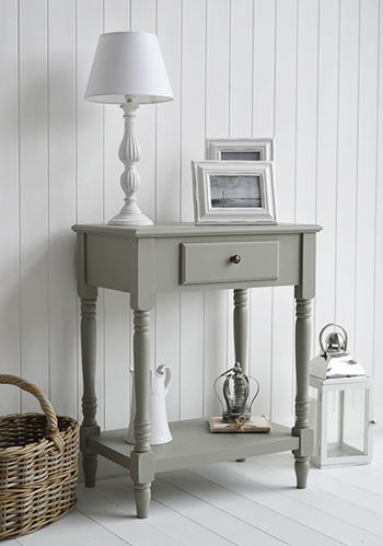 Charleston grey table, ideal as a lamp table or small consolel table, complements other white furniture