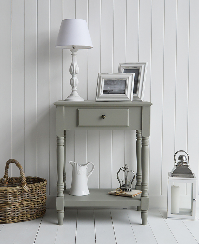Charleston French Grey lamp table with drawer and shelf