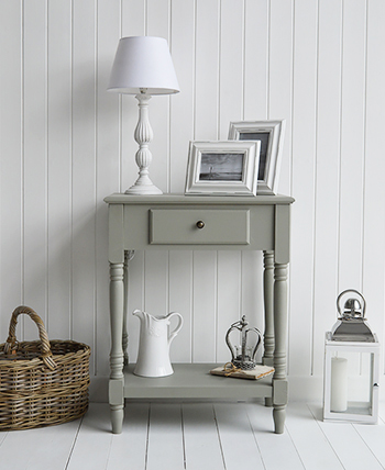 A photogograp of our Charleston small grey console table or lamp table for decorating smaller hallways