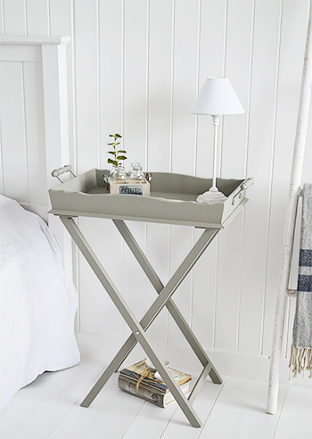 Grey bedside table from Charleston range of furniture