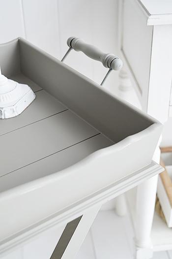 Charleston Grey Bedside  Table - Grey bedroom room furniture folding