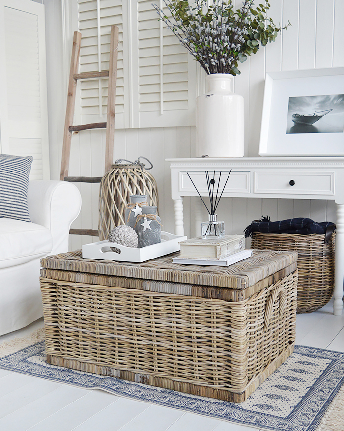 The Seaside large willow coffee table with storage for living room from The White Lighthouse. Bathroom, Living Room, Bedroom and Hallway Furniture for beautiful homes in coastal and country home interiors