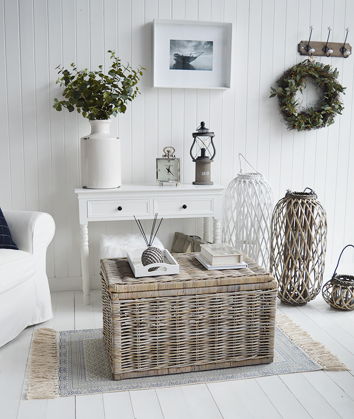 The tall white lantern and Seaside  grey willow coffee table with storage for living room from The White Lighthouse. Bathroom, Living Room, Bedroom and Hallway Furniture for beautiful homes in coastal and country home interiors