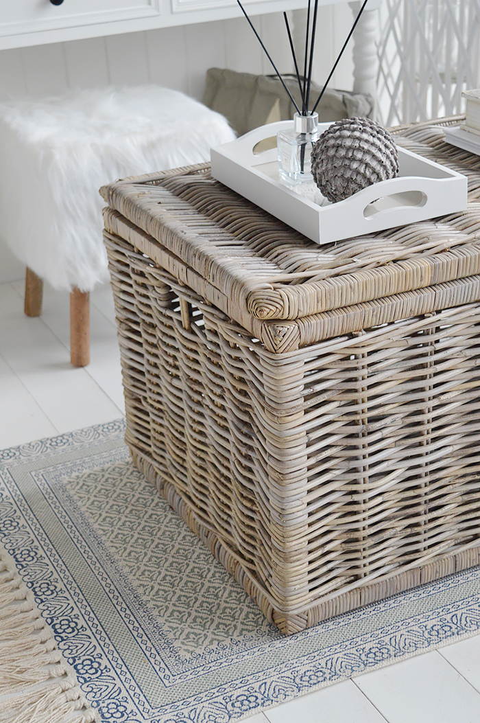 The Seaside  grey willow coffee table with storage for living room from The White Lighthouse. Bathroom, Living Room, Bedroom and Hallway Furniture for beautiful homes in coastal and country home interiors