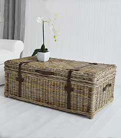 Casco Bay large willow storage coffee table for New England, coastal and country interiors and furniture from The White Lighthouse Furniture