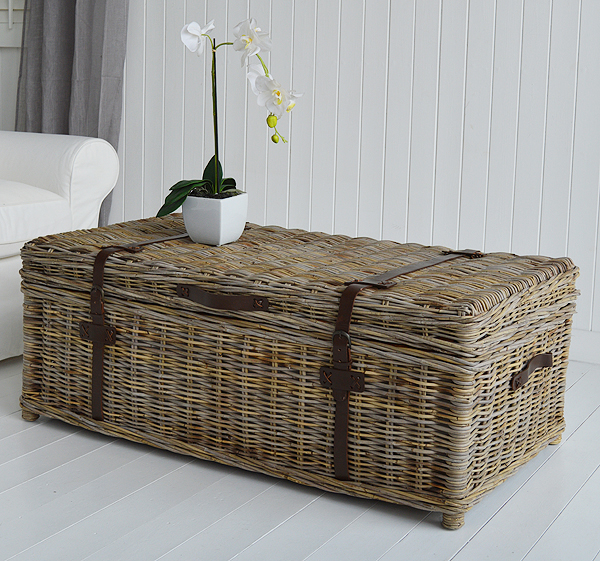 Casco Bay large willow coffee table with storage side for New England and coastal furniture