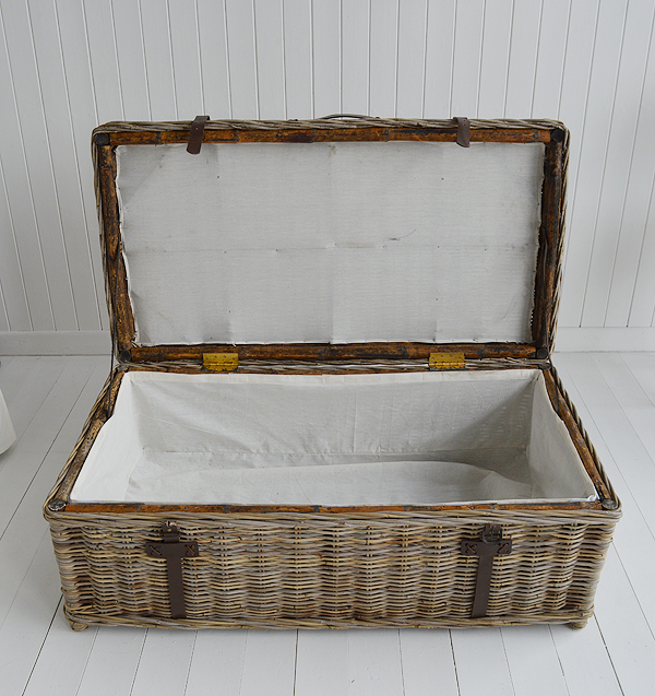 Seaside willow coffee table with storage open trunk