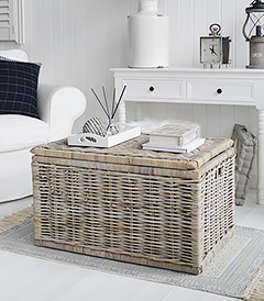 Seaside willow coffee table large with lots of storage, perfect for adding texture in bothe New England country and coastal living rooms