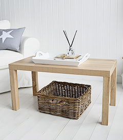 Weathered Oak effect Woodstock coffee table in living room