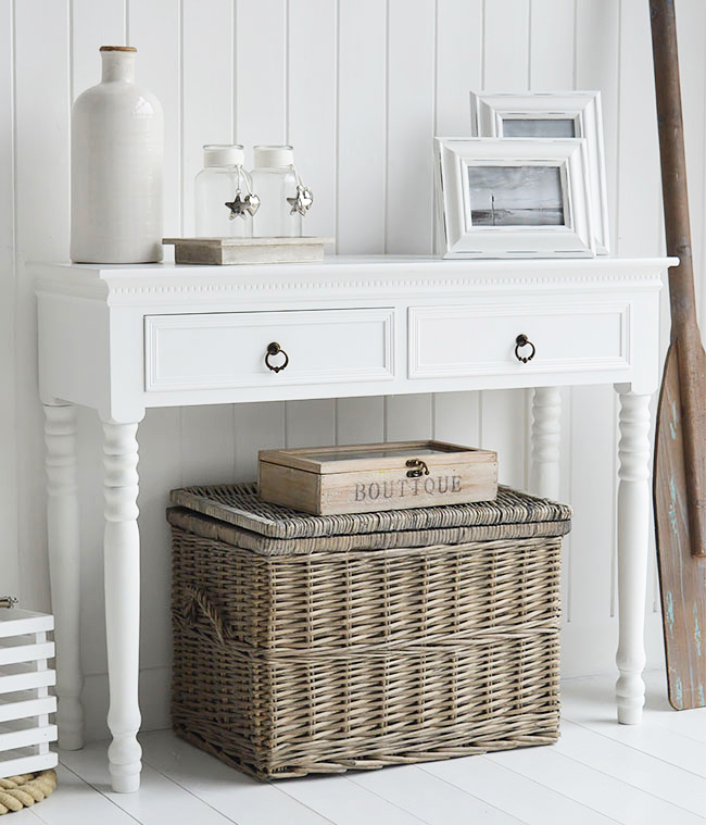 White console table. New England furniture for hallways.