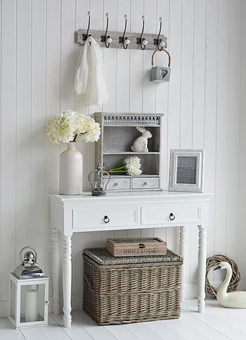 A white hall table with drawers with Parisian grey home decor accessories for hallway furniture