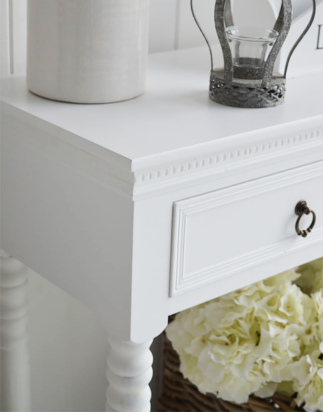 Close up of New England white furniture