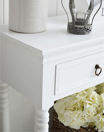 White furniture and home accessories, close up photo of Bright white New England Console table