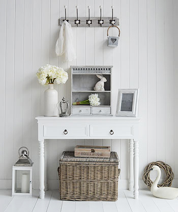 New England white hallway console table