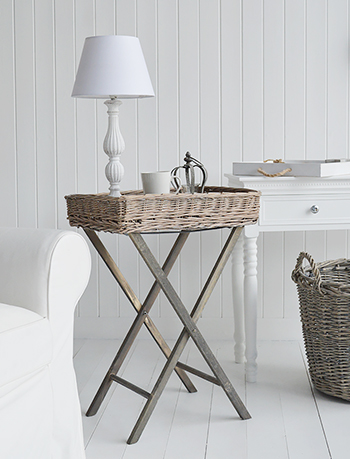 Cornwall grey willow folding tray guest table