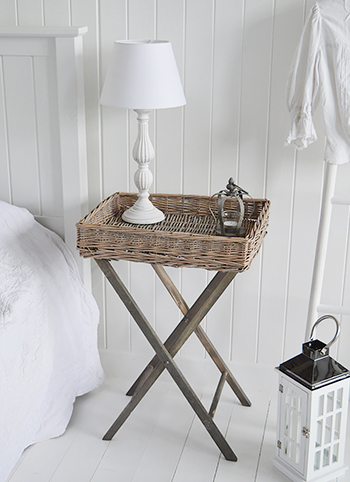 Cornwall grey guest bedside table from The White Lighthouse Coastal Country New England and Scandi bedroom  interiors