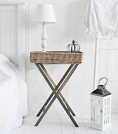 Cornwall Grey willow folding table for a budget bedside in cottage style bedrooms. Add texture and warmth with willow bedroom furniture