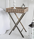 Cornwall Grey willow folding table for a budget bedside in cottage style bedrooms