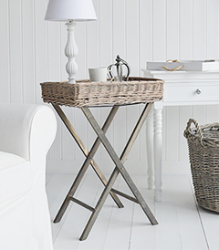 Give extra warmth and texture in a coastal bedroom or living room with our Cornwall grey folding willow table