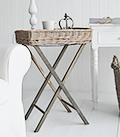 Cornwall Grey willow folding table. A budget option for a lamp or daily life essentials