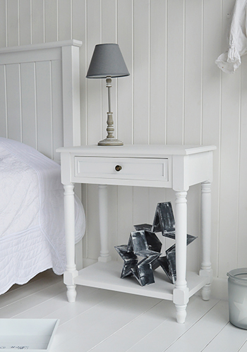 Cove Bay white large bedside with a beach house furniture finish