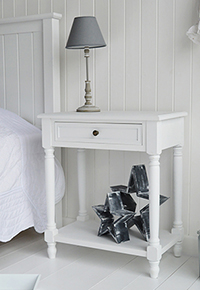Cove Bay white large bedside table with bottom shelf and drawer