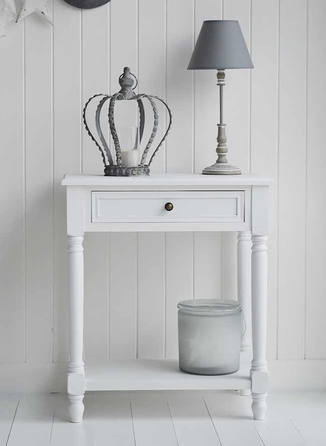 Cove bay small white console table with drawer and shelf for hallway