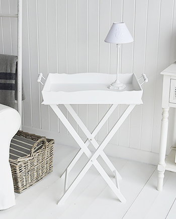 Coastal and New England bedroom interior design. The Cove Bay folding white bedside table