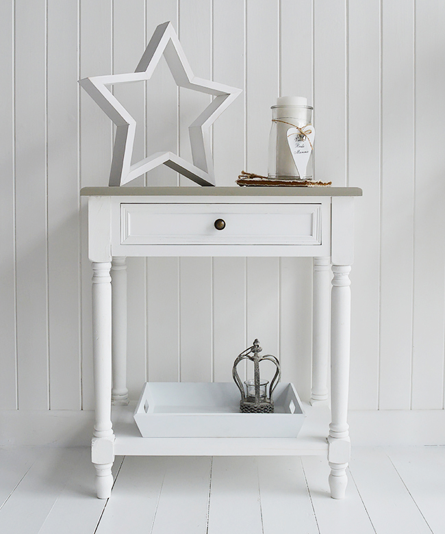 Elegant Small White Hall Table Cove Bay White Lamp Table   Coastal Living Furniture  And Interiors