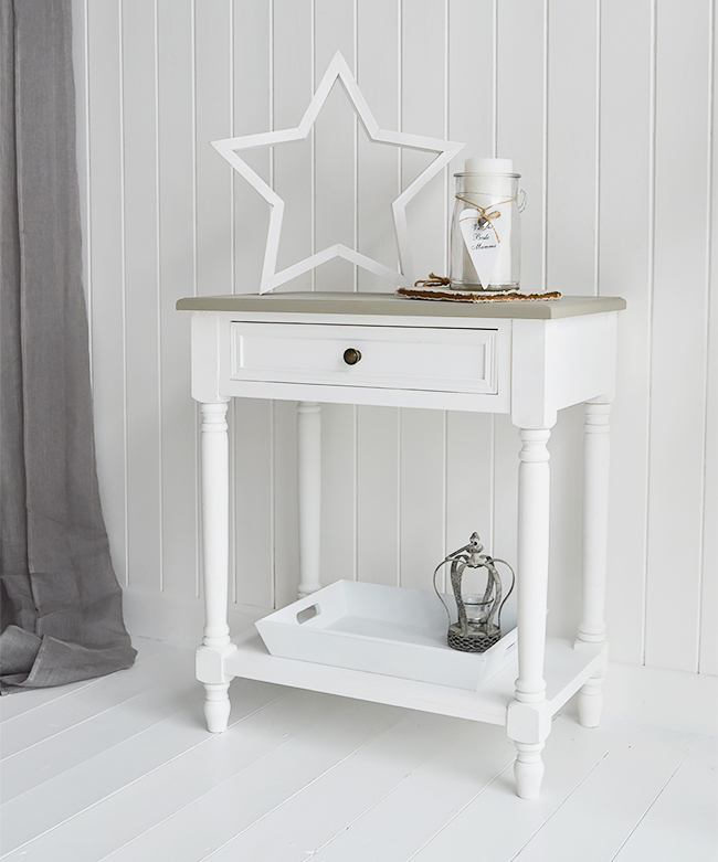 Cove Bay White Lamp Table