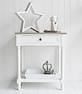 Cove Bay small console lamp table in white and grey