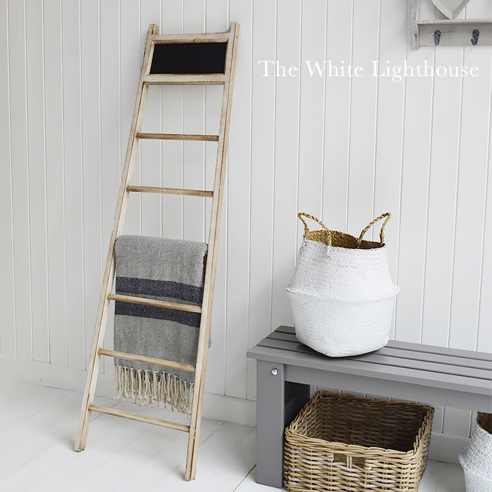 Dorchester ladder for towels, clothes, throws and blankets from The White Lighthouse