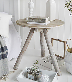 Driftwood rustic bedside table for coastal new england furniture and home interiors. the wood gives warm and texture to a coastal home