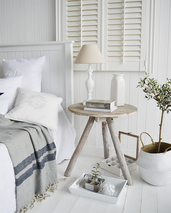 Drfitwood grey wooden bedside table for coastal inspired bedroom