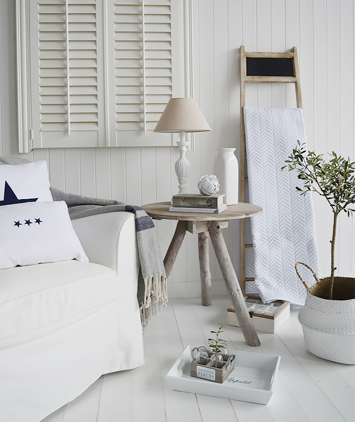 Dorchester Blanket ladder with the Driftwood table for coastal interiors from The White Lighthouse Furniture
