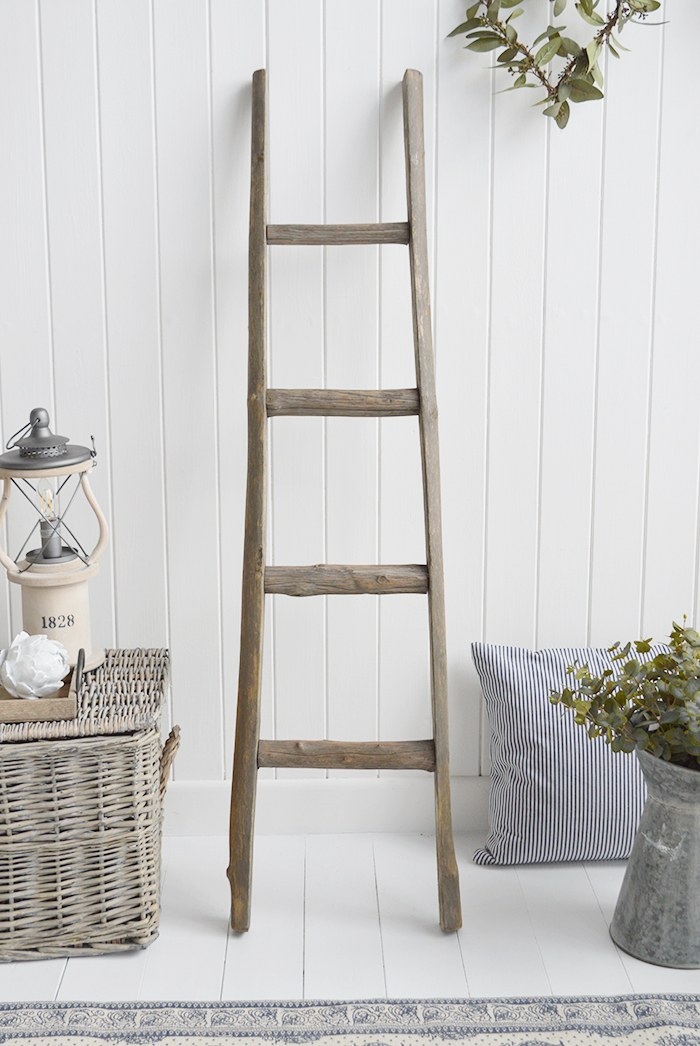 Grey Wooden Driftwood Blanket Ladder From The White Lighthouse Furniture