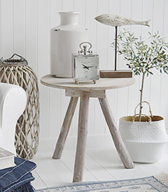 Driftwood rustic side table for coastal New England living room furniture and interiors designs